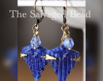 Antique Art Deco Gatsby Lapis Blue Waterfall Glass Earrings, circa 1920's by The Salvaged Bead
