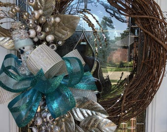 Floral wreath, aqua and gold wreath, snowman wreath, front door wreath, Christmas wreath, winter wreath