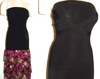 1990s 90's Body CON Dress / bebe Black Bandage Dress / Floral SILK Ruffle MIDI Skirt / Vintage Small