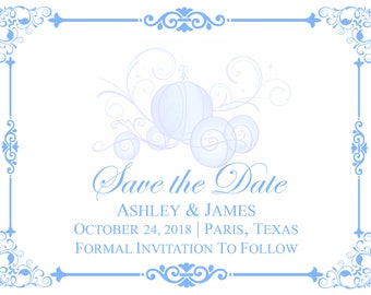 Disney Cinderella Carriage Coach Save the Date Downloadable Printable