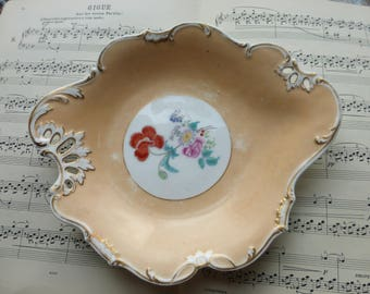 Antique 19th C beautifully shaped hand-painted china apricot bowl serving plate