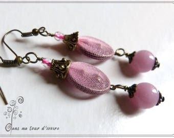SO girly... earrings pink and bronze