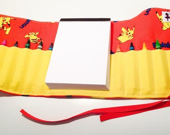 Pikachu inspired themed Crayon roll with Doodle pad