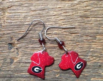 Alabama, Clemson, UGA Georgia, USC Gamecocks, Tennessee Vols lab dog earrings: college colors and dog earrings, houndstooth earrings