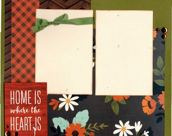 Home is where the Heart is, 2 Page Scrapbooking Layout Kit