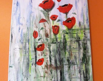 Red poppies acrylic painting