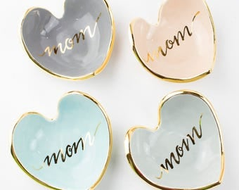 NEW Mom Calligraphy Heart shaped handmade ring dish with 22K gold luster overglaze  - gifts for her, gifts for mom, mothers day