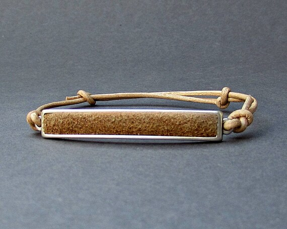 Mens Leather Bar Bracelet, Unisex Leather Cord Bracelet His And Hers Silver Dainty Bracelet Adjustable
