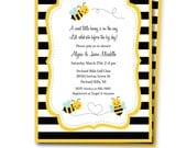 Bumble Bee Shower Invitation, Bumble Bee Baby Shower Invite, Bumble Bee Party Invitation, Bee Invite and Thank You Card, Templett