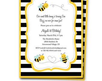 Bumble Bee Birthday Invitation/ Bumble Bee Birthday Invite/ Bee Party Invitation/ Bumble Bee Invite with Editable Text /Print at Home