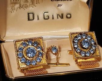 Beautiful DiGini wrap over the cuff rhinestone mad men vintage cufflinks with tac and original box DG-14