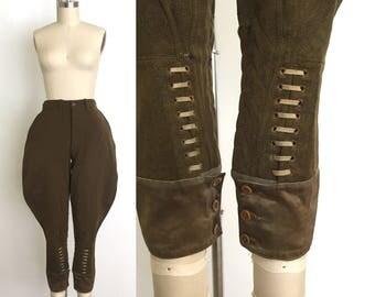 vintage 1920s jodhpurs | 20s wool riding pants with unique lacing