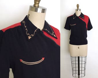 RESERVED vintage 1940s top | 40s rare side zip western blouse