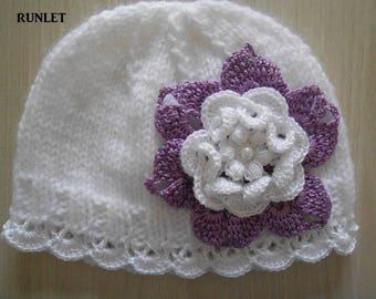 bonnet naissance blanc bonnet naissance dentelle fleur. Black Bedroom Furniture Sets. Home Design Ideas
