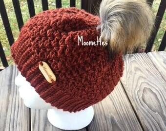 Handmade Faux Fur Pom Pom Beanie Chili Bronze Copper Nordic Hat Wood Button Crochet
