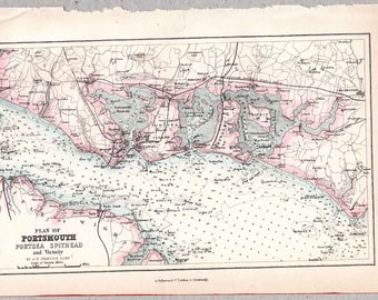 Vintage map of Portsmouth, Portsea, Spithead and Vicinity published circa 1875, Imperial Gazetteer of England & Wales #00185