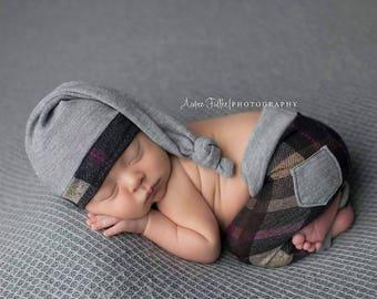 Newborn Boy Plaid Outfit, Newborn Sleepy Hat, Photography Props, Newborn Boy Props Outfit, Newborn Knot Hat, Long Tail Hat Newborn Plaid Hat