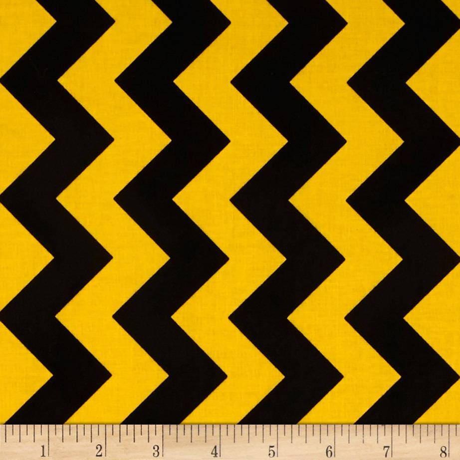 Black Yellow Chevron Striped Cotton Fabric 1/2 Yard Cut New
