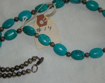T-14 Native American Necklace, Silver ??, Turquoise stones