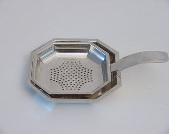 art deco octagonal silver plated tea strainer on stand