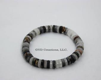 Labradorite Heishi Beaded Bracelet, Mens Bracelet, Boho Bohemian, Men Fashion Bracelet