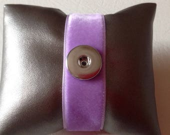 Bracelet in purple velvet snap 18 to 20 mm (color 7)