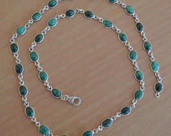 "Malachite Necklace,Cabochon Gemstone,Malachite and Silver Necklace,Personalized Necklace,malachite Jewelry,Green Gemstone Necklace,Length20"""