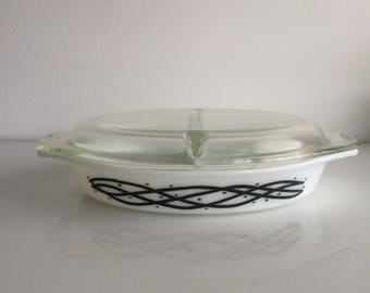 Vintage Pyrex Barbed Wire 1958 Promotional 2 Divide Casserole with Lid