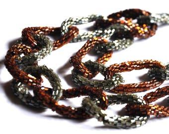 Vintage collier Maillons de chaîne tissés en graines de perles; marron et gris
