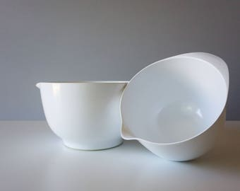 Vintage Rosti Mepal Melamine Danish Modern Margrethe Set 1.5L & 3L Mixing Bowls White