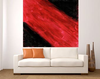 Fine Art Huge Abstract Black Red painting large acrylic pop art painting modern decor office living room dinning room handmade minimalist