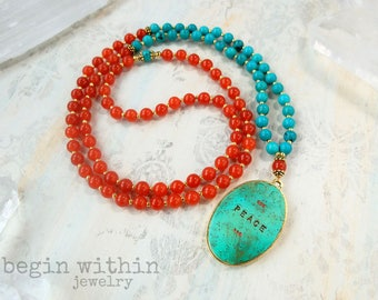 Turquoise Mala Necklace Customized with Your Text | Custom Yoga Necklace | Yoga Jewelry