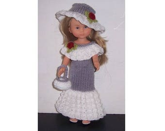 Corolle Les Cheries PDF dolls clothes knitting pattern for 13 to 14 inch doll, long knitted dres, picture hat, knitted purse