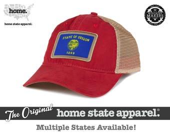 Home State Apparel Hat: State Flag Snapback Hat - Cardinal/Khaki