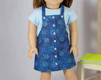 American Girl or 18 Inch Doll DRESS Jumper Navy Blue with TEE shirt Headband and BOOTS Option