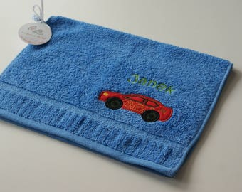 Personalized towel for kid, Towel with car applique and name, Small hand towel