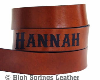 Brown Leather Name Belt
