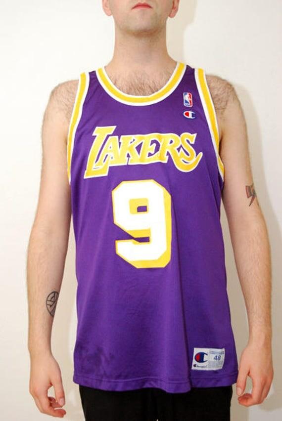 b41cdbbf4 ... NICK VAN EXEL jersey (L) vintage 90s champion large los angeles lakers  california nba ...