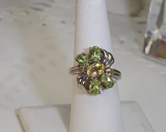 Vintage Citrine and Peridot Sterling Ring Size 7