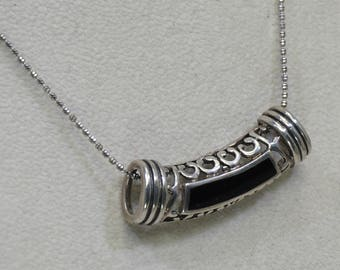 Sterling Silver Ornate Openback Slide Pendant Necklace