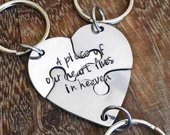 Hand engraved heart friendship puzzles keychain, 3 pieces, family, friends, three, weddings, graduations