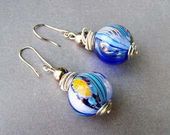 Bubble glass earrings-Blown glass earrings-Murano glass earrings-Mosaic collection
