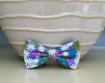 Dog Bow / Bow Tie - White Pink Blue Daisy Random Pattern