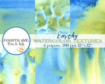 Watercolor Textures Digital Paper, Earth Day, Green and Blue, Texture, Watercolor, Scrapbook Paper, Digital Paper Pack, Digital Background