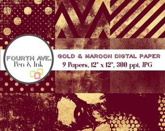 Gold Maroon Digital Paper, Gold Foil, Maroon, Burgundy, Digital Paper Pack, Digital Background, Digital Wallpaper, Digital Scrapbook
