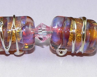 Handmade Lampwork Glass beads Earring Pair in PURPLE and Gold Silver Glass SRA