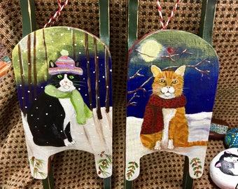 cat folk art.hand painted sled.