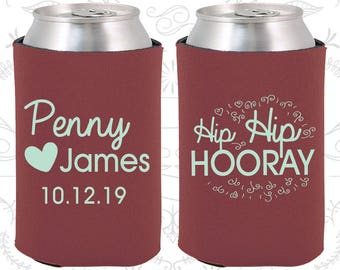 Hip Hip Hooray Gift, Personalized Wedding Gift, Heart, Beer Can Coolers (232)