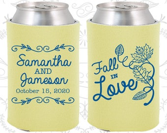 Fall in Love, Custom Gifts, Fall in Love Wedding Gift, Fall Wedding Gift, Floral Wedding Gift, Leaves, Beer Can Coolers (377)