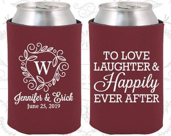 Wedding Can Coolers (C61) Love Laughter and Happily Ever After - Monogram - Personalized Can Coolers, Custom Can Coolers, Wedding Favors